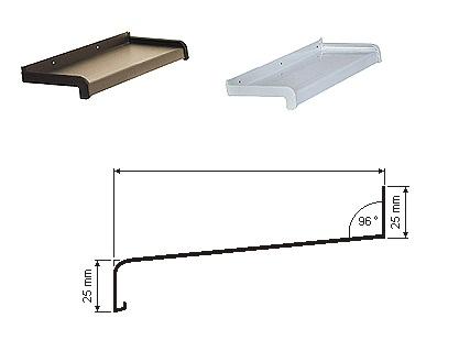 hliníkové parapetné dosky - hrúbka 2mm